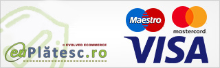 Online cu card bancar prin EuPlatesc (Visa/Maestro/Mastercard).  Daca ati ales metoda de plata Online prin card bancar este necesar sa completati un formular cu informatiile despre cardul dumneavoastra in pagina securizata a procesatorului de plati.  Platile cu carduri de credit/debit emise sub sigla Visa si MasterCard (Visa/Visa Electron si MasterCard/Maestro)  se efectuaeaza prin intermediul sistemului 3-D Secure elaborat de organizatiile care asigura tranzactiilor on-line acelasi nivel de securitate ca cele realizate la bancomat sau in mediul fizic, la comerciant.  3-D Secure asigura in primul rand ca nici o informatie legata de cardul dumneavoastra nu este transferata sau stocata,  la nici un moment de timp, pe serverele magazinului  sau pe serverele procesatorului de plati, aceste date fiind direct introduse in sistemele Visa si MasterCard.     Important de stiut! - Pentru platile prin card bancar nu este perceput nici un comision!     Va multumim anticipat!